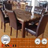 Vector superior de mármol de los muebles del comedor y muebles de madera de la silla