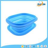 Heiße Art, die draußen Filterglocke-Mittagessen-Kasten-Grün-Silikon-Picknick-Tafelgeschirr 3 Farben faltet