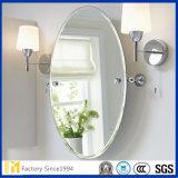 2mm - 6mm 은 목욕탕 장식적인 벽 미러를 위한 Polished 가장자리를 가진 입히는 플로트 유리 타원형 미러