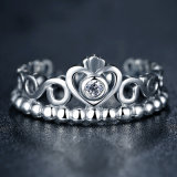Anel de diamante de moda Crown CZ Anel de prata esterlina 925