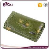 Оптовой роскошной бумажник типа краткости бумажника неподдельной кожи бумажника женщин выбитый бабочкой