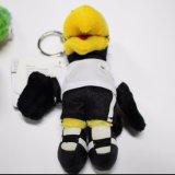 Petit jouet noir de peluche de perroquet du cuir 12cm