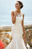 Amalia Nixe-Illusion-Stutzen-Spitze-Hochzeits-Kleid