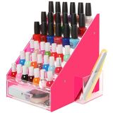 Rose et organisateur acrylique de vernis à ongles d'espace libre avec la cuvette de tiroir et de support