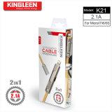 Cable de datos modelo K21 de Kingleen para el iPhone/el micr3ofono 2 en 1 2.1A hecho salir