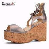 Pattini casuali dei sandali della piattaforma del sughero delle donne degli alti talloni della signora Lace-up