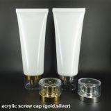 Tubo di plastica cosmetico bianco luminoso con il coperchio a vite