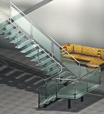 Escalera recta de madera de cristal de la dimensión de una variable de U