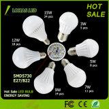 세륨 RoHS UL를 가진 에너지 절약 LED 전구 E27 B22 3W-15W 알루미늄 플라스틱 LED 전구