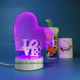 Neues Arrival Rechargeable Heart Shape 3D Night Lamp