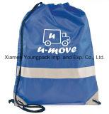 O nylon feito sob encomenda relativo à promoção personalizado do azul 210d ostenta a trouxa do Drawstring