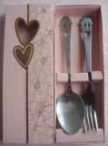 Aço inoxidável Sorriso Face Spoon e garfo Set de talheres com caixa de cores