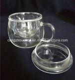 Copo de chá do vidro de Borosilicate do continente de China com tampa