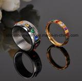 Anel chapeado ouro da jóia da pedra do quadrado do zircónio do anel do aço inoxidável (CZR2569)