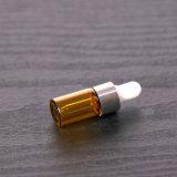 botella de petróleo esencial de cristal ambarina 10ml con el casquillo del pisón de la prueba del niño y el reductor evidentes del orificio