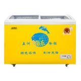 Curva livre do Refrigeration do flúor que desliza o congelador de vidro de revestimento endurecido da porta