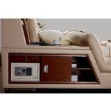 침실 사용 (FB8153)를 위한 담황색 베이지색 색깔 가죽 침대