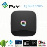OEM & ODM astuti della casella di memoria TV del quadrato del contenitore 2g/8g H. 265 4k Kodi 16.0 di Android 5.1 all'ingrosso TV di Amlogic S905 della casella di Q