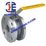 API/DIN que flota la vávula de bola neumática de acero inoxidable de la oblea