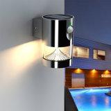 Lumière solaire de jardin fixé au mur de nuit du détecteur DEL d'acier inoxydable
