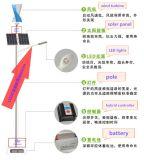 Réverbère hybride solaire de vent de vent vertical de la turbine 100W 200W 300W 400W
