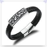 De Armband van het Leer van de Juwelen van de Mensen van de Juwelen van het roestvrij staal (LB419)