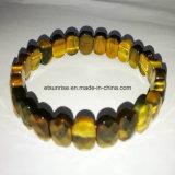 Cristal natural bracelete frisado lapidado