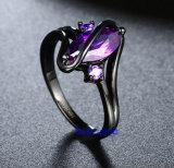 검정에 의하여 도금되는 색깔 CZ 보석 반지 (R0843)