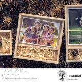 Doos _E van de Verpakking van de Foto USB van de Gift van het Huwelijk van het Embleem van Hongdao de Natuurlijke Kleur Aangepaste Houten