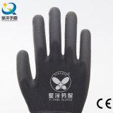 Черный вкладыш полиэфира с черными перчатками безопасности PU Coated
