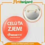 Значок кнопки промотирования алюминиевый с логосом печатание