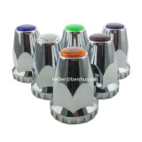 Caminhão pesado de 33mm Chrome ABS Cobertura decorativa Cobertura da roda Trim Flange Style Lug Nut Cover Purple Reflectors