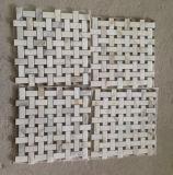 Azulejo de mármol blanco de Basketweave