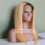 La obscuridad de Ombre 2t de la buena calidad arraiga la peluca llena del cordón del pelo humano 1b/27