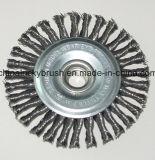 spazzola annodata della rotella del filo di acciaio 4inch con M14X2 (YY-641)
