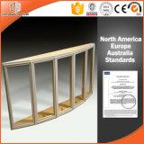 Altas bahía de la rotura termal revestida de madera sólida y ventana de arqueamiento de aluminio elogiadas