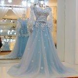 2017 vestido de cóctel de Aqua Una línea de novia con cuentas de manga larga atractiva de Tulle