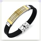 革ブレスレットのステンレス鋼の宝石類のシリコーンのブレスレット(LB583)