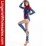 "Partido de Halloween das mulheres ""sexy"" todo o traje super americano de Cosplay do herói"