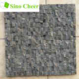 Diseños partidos del azulejo de suelo de mosaico del mármol del negro de la piedra de la cara