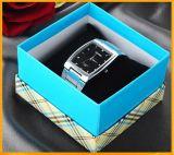 Rectángulo de empaquetado del reloj rígido de la cartulina con la almohadilla negra