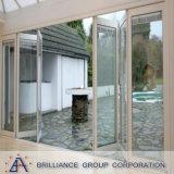 Puerta BI-Plegable de aluminio/puerta BI-Plegable de aluminio con el vidrio doble