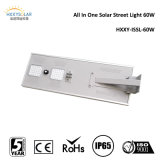 CE RoHS IP65 60W Solar Street Light di Dimmable Motion Sensor con Lithium Battery Backup