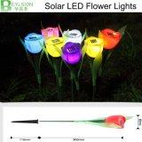 Couleur jaune blanche vert-bleu rouge d'éclairages LED de tulipe de fleur d'éclairages LED de jardin d'éclairages solaires de lampes pour le jardin extérieur