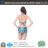 여자 2016 최신 형식 높은 허리 인쇄 열대와 섹시한 작풍 크기 비키니 세트 플러스 목욕 Biquini를 취하는 여름 바닷가