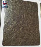 La hoja de la rayita del color de bronce del acero inoxidable y el cobre de placa decorativos cubrieron