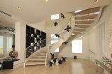 Escadaria de vidro fácil do aço inoxidável do projeto da instalação de DIY com o passo dos trilhos do vidro Tempered e da madeira contínua