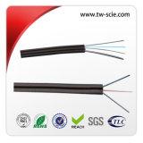 Cable de gota aéreo al aire libre de la fibra FTTH G. 657A1 LSZH negro con el alambre de mensajero
