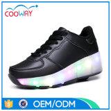 Чисто белые цветастые ботинки конька ролика ботинок СИД светлые