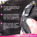 grampo de cabelo 7PCS/Set reto brasileiro reto do cabelo brasileiro do Virgin 7A no cabelo preto natural da cor das extensões do cabelo humano